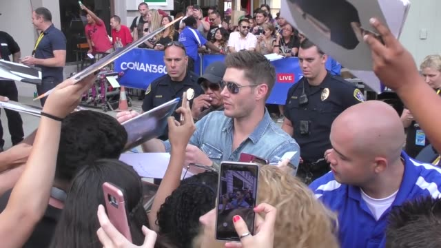 jensen ackles outside conan o'brien san diego comic con taping at spreckels theatre in celebrity sightings in san diego - conan o'brien stock videos and b-roll footage