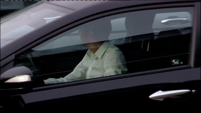 jenson button arrival / honda team staff / max mosley interview; england: northamptonshire: brackley: ext jenson button driving saloon car into... - honda bildbanksvideor och videomaterial från bakom kulisserna