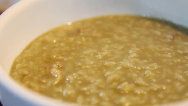 Jeonbok-juk (Abalone Rice Porridge) in the bowl (Korean food), Jeju Island
