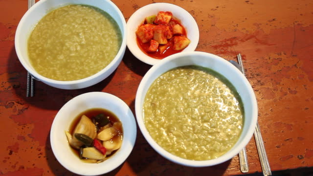 Jeonbok-juk (Abalone Rice Porridge) with Kimch (a traditional Korean dish made of salt and seasoned vegetables), Jeju Island