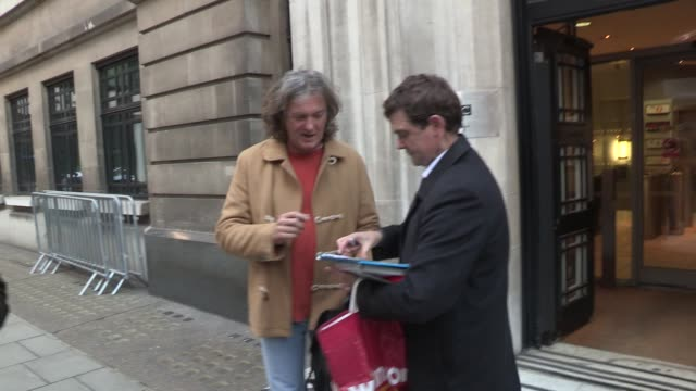 jeremy clarkson james may sighted while visiting the bbc radio two on november 29 2012 in london england - jeremy clarkson stock videos & royalty-free footage