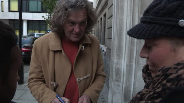 jeremy clarkson, james may sighted while visiting the bbc radio two on november 29, 2012 in london, england - bbc radio stock videos & royalty-free footage