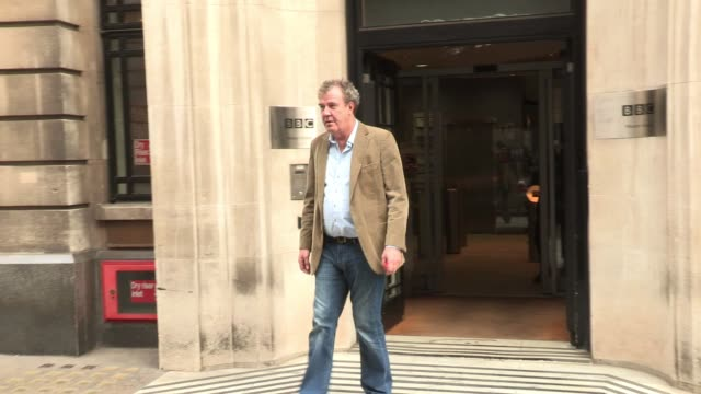 jeremy clarkson sighted outside bbc radio two where he was a guest on the show sighted jeremy clarkson at bbc studios central london on march 02 2012... - jeremy clarkson stock videos & royalty-free footage