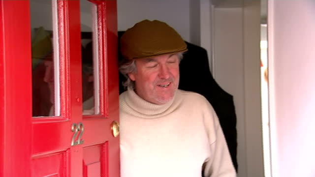 james may doorstep interview england london int james may doorstep interview sot - jeremy clarkson stock videos & royalty-free footage