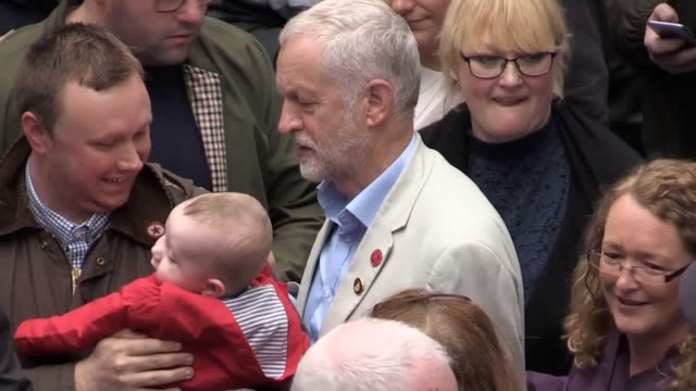 jeremy corbyn addresses a rally in coatbridge north lanakshire where trade union members are protesting against the closure of a department for work... - pension stock videos & royalty-free footage