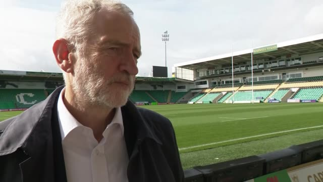 jeremy corbyn and diane abbott tour football stadium in northampton england east midlands northampton ext jeremy corbyn mp interview sot / corbyn and... - diane abbott stock videos & royalty-free footage