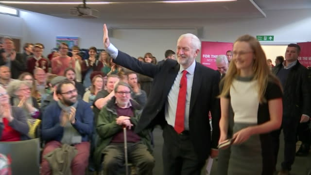 jeremy corbyn and john mcdonnell taking to the stage on the campaign trail in blackpool - john mcdonnell politician videos stock videos & royalty-free footage