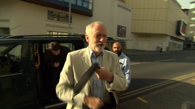 jeremy corbyn and owen smith arriving for a debate in nottingham - owen smith politician stock videos & royalty-free footage