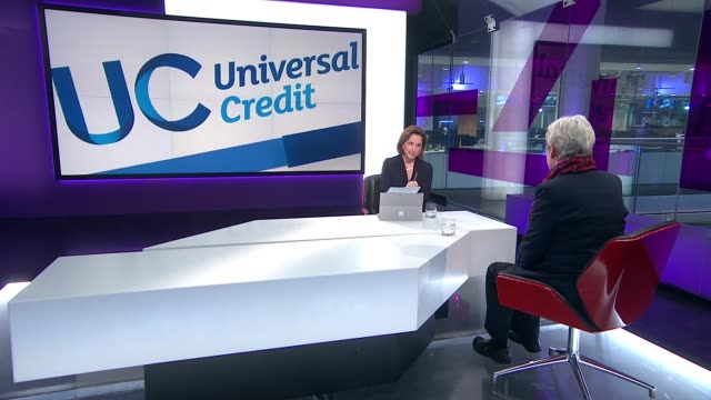 jeremy corbyn announces plans to scrap universal credit england london gir int margaret greenwood mp live studio interview sot - jackie long stock videos & royalty-free footage