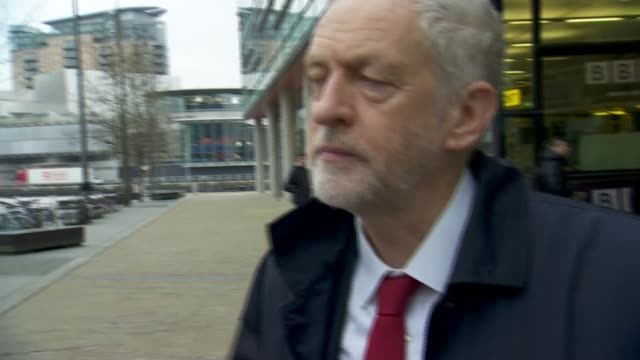 Jeremy Corbyn arrival and departure at BBC in Salford Jeremy Corbyn arrival and departure at BBC in Salford ENGLAND Greater Manchester Salford BBC...