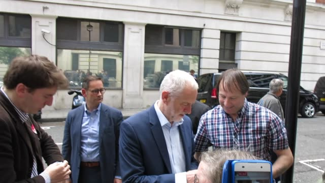 jeremy corbyn arrives at bbc radio 2 in london on may 18, 2017 in london, england. - bbc radio stock videos & royalty-free footage