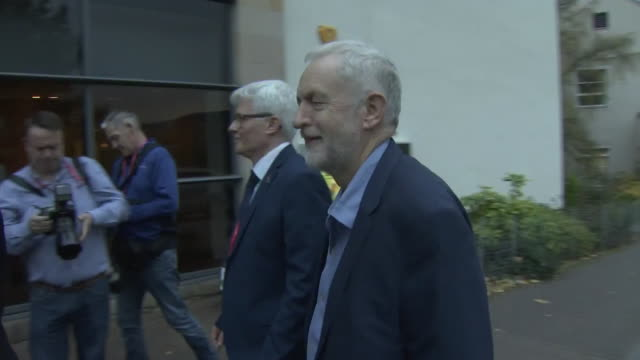 Jeremy Corbyn arriving to speak at an event in Scotland