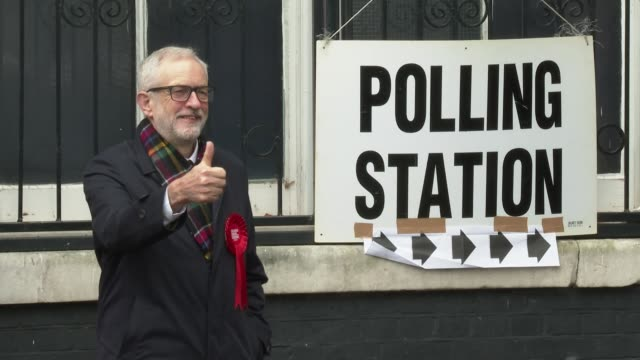 jeremy corbyn at british voters go to the polls on december 12, 2019 in london, england. - jeremy corbyn stock videos & royalty-free footage