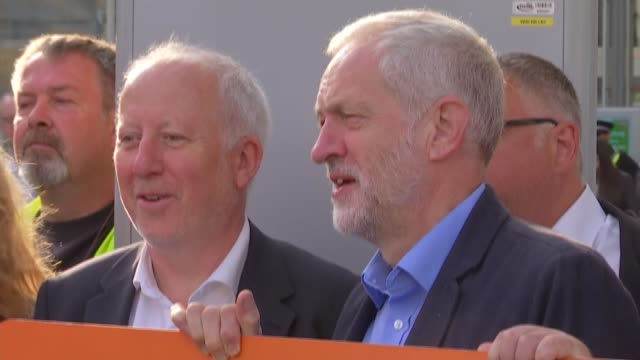 jeremy corbyn at london bridge action for rail event jeremy corbyn mp with demonstrators / jeremy corbyn mp interview re nationalisation sot / corbyn... - nationalization stock videos & royalty-free footage