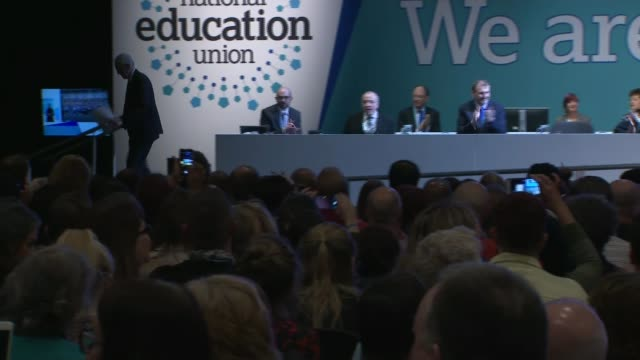 Jeremy Corbyn calls for SATs to be scrapped in England's primary schools ENGLAND Liverpool INT Jeremy Corbyn MP along to podium at National Education...