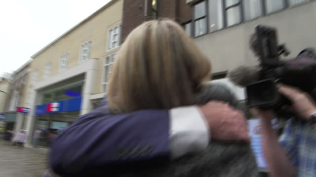 Jeremy Corbyn congratulating Lisa Forbes after winning the Peterborough byelection