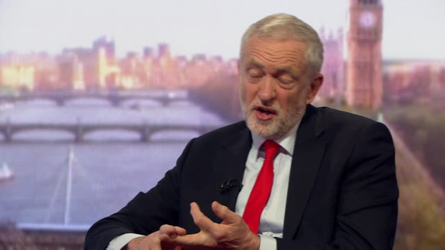 "jeremy corbyn criticising the government for ""cutting several billion off the school budget"" and that he ""wants to see universal access to all... - cutting stock videos & royalty-free footage"