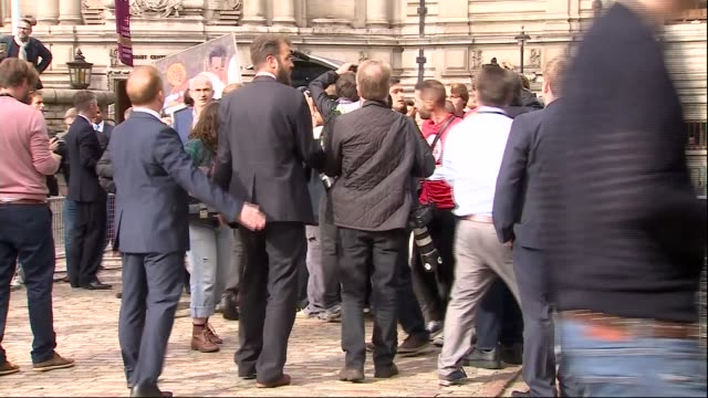 jeremy corbyn elected as labour leader england london westminster queen elizabeth ii conference centre ext jeremy corbyn mp surrounded by scrum of... - スクラム点の映像素材/bロール