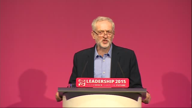 jeremy corbyn elected as labour leader; england: london: westminster: queen elizabeth ii conference centre: int **beware flash photography** man at... - labour party stock videos & royalty-free footage