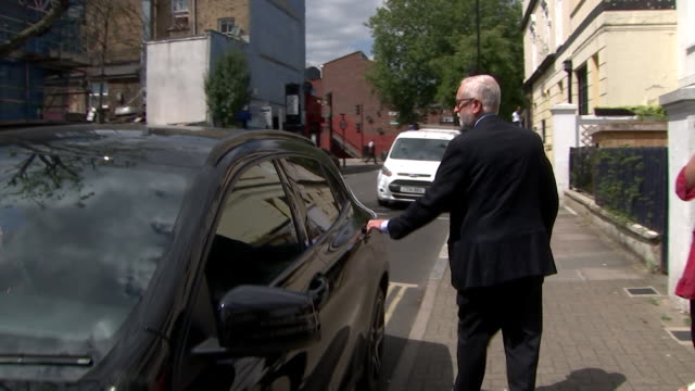 jeremy corbyn former labour leader leaving his house after former party employees received apology and damages in the court as to the way their... - party social event stock videos & royalty-free footage