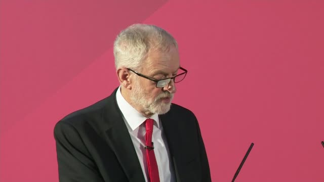 """jeremy corbyn gives speech berating boris johnson for using queen's speech as """"party political broadcast"""" and plots election manifesto; england: east... - northampton england stock videos & royalty-free footage"""