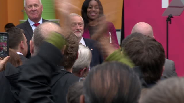 jeremy corbyn greeting cheering crowds at the launch of the labour manifesto - british labour party stock videos & royalty-free footage
