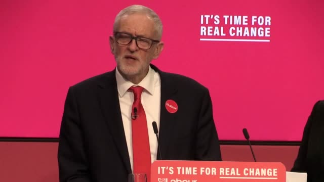 """jeremy corbyn has vowed to take on """"vested interests"""" in society as he set out a radical programme to invest in public services, tackle climate... - jeremy corbyn stock videos & royalty-free footage"""