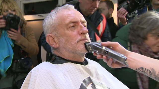 jeremy corbyn having his beard trimmed in a barbers - shaving stock videos & royalty-free footage
