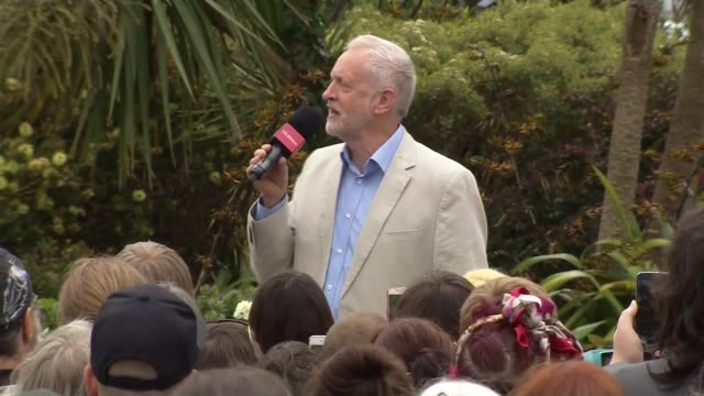 Jeremy Corbyn in Hastings and Rye ENGLAND Sussex Hastings and Rye EXT Jeremy Corbyn MP speech SOT re public sector pay cap Grenfell Tower fire