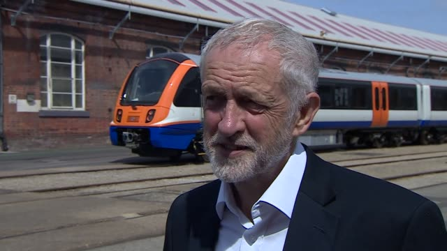 Jeremy Corbyn interview during visit to Bombardier in Derby ENGLAND Derby Bombardier EXT Jeremy Corbyn MP interview re antisemiticism Brexit SOT