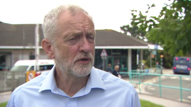 cornwall truro royal cornwall hospital ext jeremy corbyn mp interview sot talks about the police paying a convicted rapist for evidence in a child... - 性的虐待点の映像素材/bロール