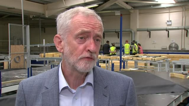 west midlands walsall local homes factory int jeremy corbyn mp interview sot on homelessness / on the accord group's local homes factory - jeremy corbyn stock videos & royalty-free footage