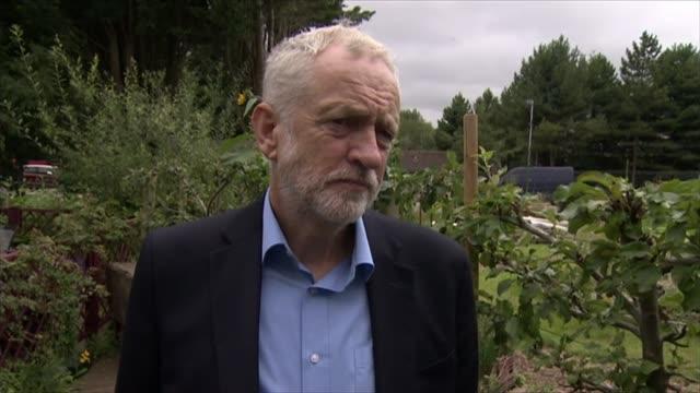 jeremy corbyn interview / garden tour england swindon ext jeremy corbyn mp interview sot re deal with tata / labour government would intervene /... - jeremy corbyn stock-videos und b-roll-filmmaterial