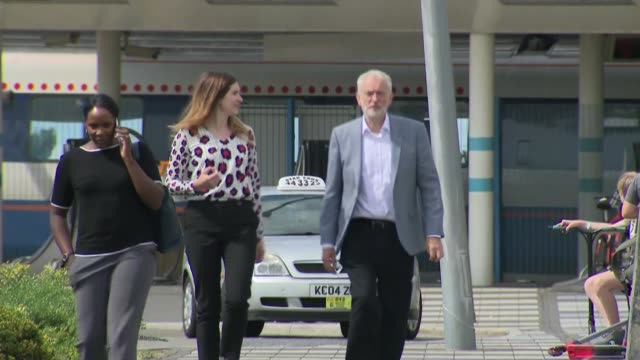 vídeos y material grabado en eventos de stock de jeremy corbyn interview re wreath-laying trip to tunisia and rail fare increases; england: northamptonshire: corby: ext set-up shot of jeremy corbyn... - northamptonshire