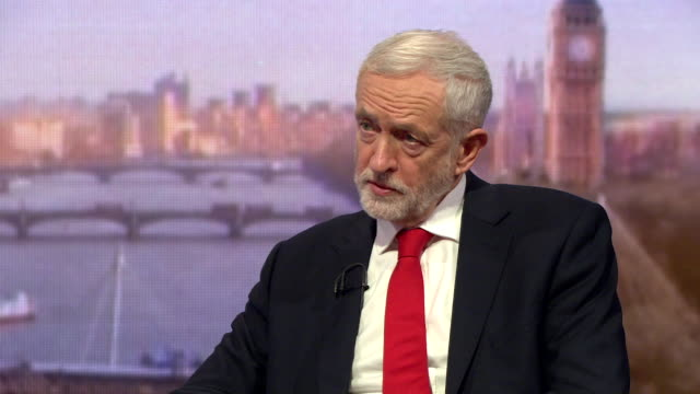 jeremy corbyn labour leader speaking on the andrew marr show says a no deal exit from the eu would be catastrophic we will do everything we can to... - andrew marr stock videos & royalty-free footage