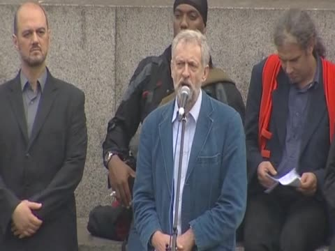 jeremy corbyn labour mp for islington north on weapons of mass destruction during the antiwar mass assembly in trafalgar square to mark 10 years of... - weapons of mass destruction stock videos and b-roll footage