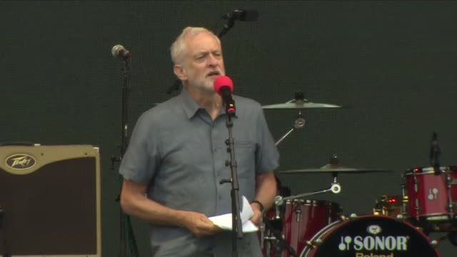 jeremy corbyn leader of the uk's opposition labour party speaks during the 'labour live' festival on june 16 2018 in london england - jeremy corbyn stock-videos und b-roll-filmmaterial