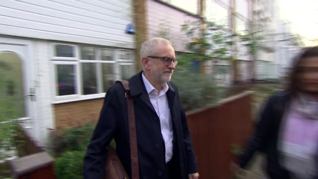 jeremy corbyn leaving his house after a landslide defeat in the general election - distraught stock videos & royalty-free footage