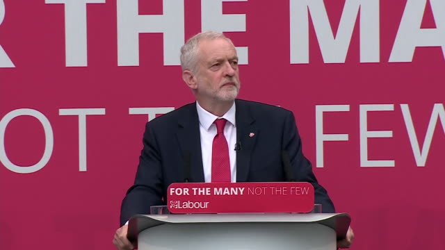 jeremy corbyn listing labour's policies on tuition fees pensions and railways at the launch of the party's manifesto - nationalization stock videos & royalty-free footage
