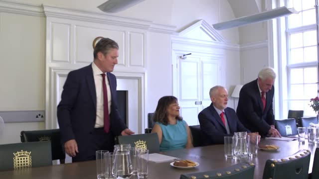 jeremy corbyn meets with members of his own party ahead of a meeting with opposition party leaders on brexit joining the labour leader in the... - labour party stock videos & royalty-free footage