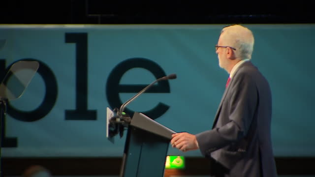 jeremy corbyn on stage at the trades union congress in brighton - trades union congress stock videos & royalty-free footage