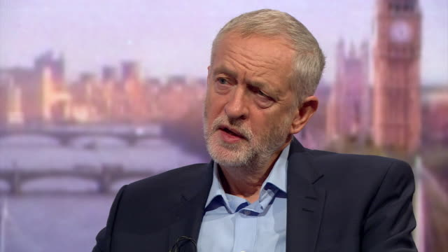 stockvideo's en b-roll-footage met jeremy corbyn on the andrew marr show explaining that with the free movement of labour you need to balance the economy by improving living conditions... - andrew marr