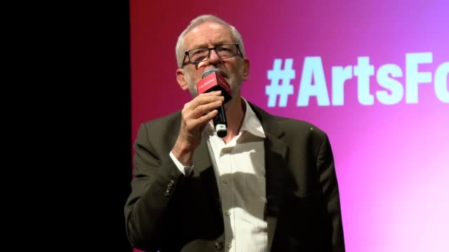 stockvideo's en b-roll-footage met jeremy corbyn pledges labour's support for britain's arts and culture sector promising to radically expand access and to invest £1bn in a renewed... - arts culture and entertainment