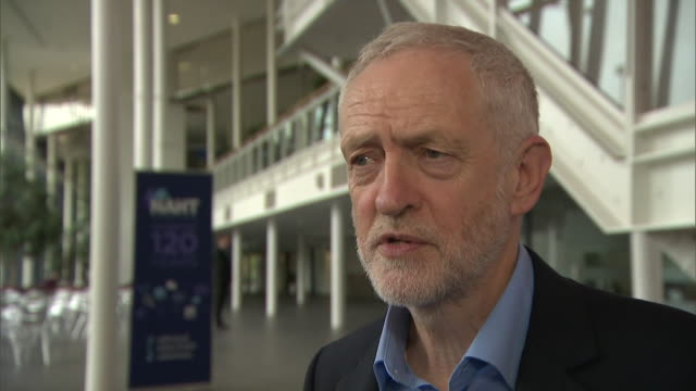 jeremy corbyn saying we are the party that wants low taxes for low and medium earners conservatives want low taxes for the high earners and see... - media interview stock videos and b-roll footage
