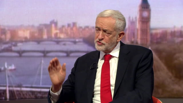 jeremy corbyn speaking on the andrew marr show says about labour's migration policy it will be based on the needs and rights of people to work in... - emigration and immigration stock videos & royalty-free footage