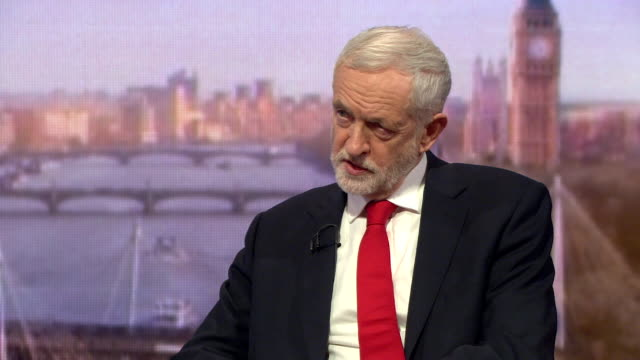 vídeos de stock e filmes b-roll de jeremy corbyn speaking on the andrew marr show says we will table a vote of no confidence at a time of our choosing but it will be soon - bbc