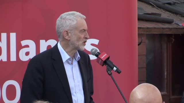 jeremy corbyn speaks at a rally at voluntary action in beeston. he says that antisemitism is not acceptable and that walking away from the labour... - jeremy corbyn stock videos & royalty-free footage