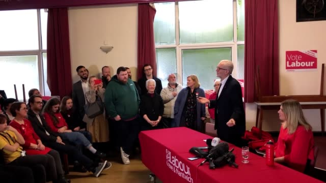 jeremy corbyn speaks to labour supporters at his first campaign stop of the general election in the marginal seat of crewe and nantwich, cheshire.... - nantwich stock-videos und b-roll-filmmaterial