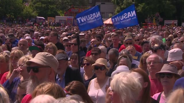 Jeremy Corbyn speech at Durham miners gala Various of crowd at gala Alan Cummings interview SOT