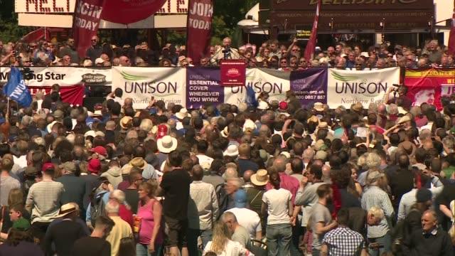 Jeremy Corbyn speech at Durham Miners' Gala wide shot ENGLAND County Durham Durham EXT Long shot of Jeremy Corbyn MP addressing the Durham Miners'...